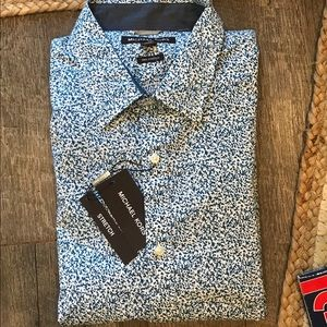 Michael Kors Ocean Blue Dress Shirt XXL $128 NWT